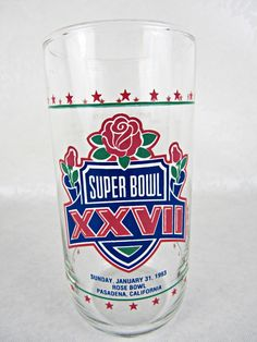 1993 SUPERBOWL XXVII Drinking Glass Football Souvenir Sports Collectible