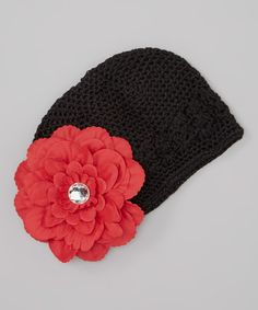 Take a look at this Black  amp  Red Rhinestone Flower Crocheted Beanie by  Dress Up 57d4d8545315