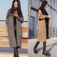 Купить товарОсень зима женская мода твист карманы с длинными рукавами мохер теплые толстые длинные трикотажные свитера пальто кардиган пальто женщина в категории Кардиганына AliExpress. ЕДИНИЦА ИЗМЕРЕНИЯ: СМРАЗМЕР %D
