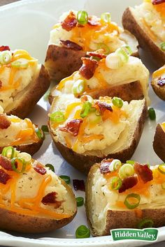 Twice-baked potatoes sound great, until you realize how long they take to make! Potato skins require a fraction of the time – just 30 minutes – and this recipe delivers big, with bacon, cheese and zesty ranch flavors. Serve as a crowd-pleasing, budget-friendly appetizer, or make a meal by serving them as a side for a hearty soup.