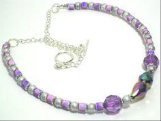 Purple Amethyst Beaded Chain Necklace Elegant by cynhumphrey, $19.99
