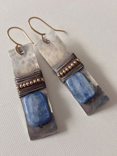Hammered silver earrings with goldfilled and by anikojewelry, $59.00