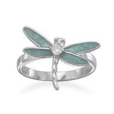 enamel dragonfly ring