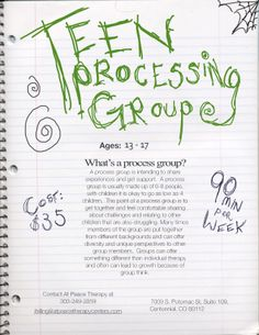 teen processing group, more info on http://counselingcentennial.com/group-therapy-calendar/