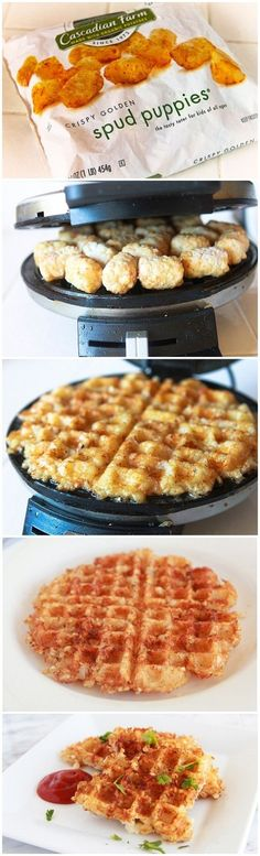 Crispy hash browns in the waffle iron!  So smart.