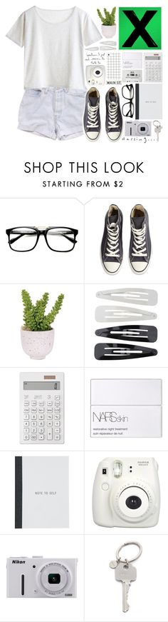 """""""Thinking out loud"""" by alexandra-provenzano ❤ liked on Polyvore featuring Levi's, MTWTFSS Weekday, Converse, Lux-Art Silks, Forever 21, Muji, NARS Cosmetics, Nikon, Paul Smith and FOSSIL"""