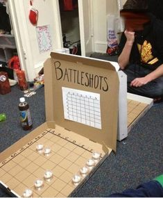 Battleshots Drinking Game, this could get bad results if using liqueur. Sounds like a good time though :)