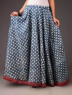 Indigo-Red Abstract Motif & Rogan Border Panelled Cotton Skirt - by Jaypore