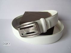 Armani Belt White Rectangle Silver Buckle 66
