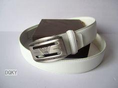 Armani Belt White Rectangle Silver Buckle 66