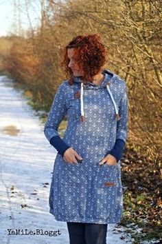 Sweatkleid mit Kapuze für Damen, auch in großen Größen - Nähanleitung und Schnittmuster via Makerist.de