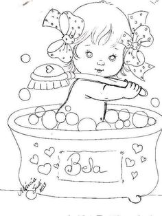 Baby in bath Hand Embroidery Designs, Vintage Embroidery, Embroidery Patterns, Art Drawings For Kids, Coloring Book Pages, Coloring For Kids, Digital Stamps, Fabric Painting, Pattern Art
