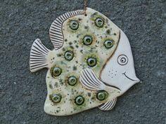 Fish, Ceramic fish, Fish tile, Funny fish, Ceramic tile, green fish, Ceramics and pottery, Handmade fish, Ceramic fish tile