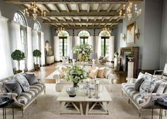 jensen cottage coffee tables in high ceiling mansion. Look at those tall windows! The Big Comfy Couch, Room Of One's Own, French Country Living Room, Formal Living Rooms, Luxury Apartments, Great Rooms, Living Room Furniture, Family Room, New Homes