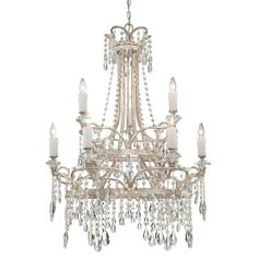 "Quoizel TCA5009 Tricia 9 Light 2 Tier 31"" Wide Candle Style Chandelier with Crys Vintage Silver Indoor Lighting Chandeliers"