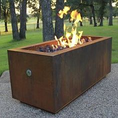 Rectangular Steel Outdoor Fire Pits - HomeInfatuation.com.