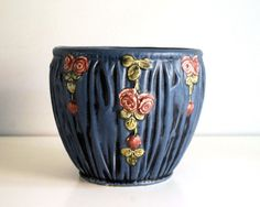 Weller Pottery Jardiniere Blue Drapery Planter by CalloohCallay