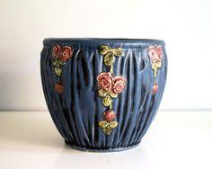Weller Pottery Jardiniere Blue Drapery Planter by CalloohCallay