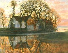 Piet Mondrian (Dutch, 1872-1944) - Farm near Duivendrecht - 1908  #PietMondrian #la #painting  #Duivendrecht