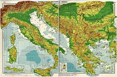 vintage Italy - Yugoslavia - Bulgaria and Greece atlas map pages - set of 2 - 1930s - 7.00