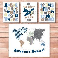 boys room nursery alphabet numbers print kids room wall art set of 4 world map wall decor jpg pdf printable digital print instant download