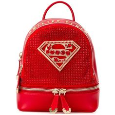 Philipp Plein xs 'Princess' backpack ($2,270) ❤ liked on Polyvore featuring bags, backpacks, red, day pack backpack, genuine leather backpack, red leather backpack, red backpack and leather rucksack