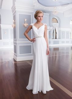Lillian West lillian west style 6308 Chiffon column v-neckline features lace cap sleeves and center draping  accented by a thin chiffon belt with beading. Gown is finished with  sweep length train and chiffon buttons that enclose the lace illusion  back and zipper.