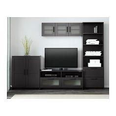 "BRIMNES TV storage combination, black - 102 3/8x16 1/8x74 3/4 "" - IKEA"
