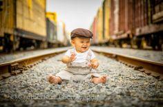 Children's photography, photos with train/railroad tracks, first birthday shoot ideas www.facebook.com/cynthiaruizphotography