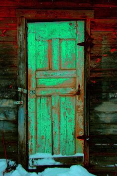 'Doors of Perception' | Ludwig, on Flickr #portals #doors #snow #winter #dark #red #lime #green #color #old #weathered #antiqued #painted