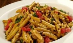 Firebird Pasta - (chili asiago cream sauce, penne pasta, chicken, apple wood-smoked bacon, green onions and tomato) - me starting to eat healthy.so giving this pasta a try:) I Love Food, Good Food, Yummy Food, Tasty, Pasta Dishes, Food Dishes, Pasta Food, Penne Pasta, Spicy Pasta