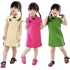 Chinese New Year Baby Girls Chi-Pao Dress Kids Traditional Qipao Candy Solid Children Cheongsam Linen Girl Clothes Jumper Blouse. Chinese Traditional Costume, Traditional Outfits, Chinese Style, Chinese Fashion, Cheongsam Dress, Girls Dresses, Summer Dresses, Chinese New Year, The Dress