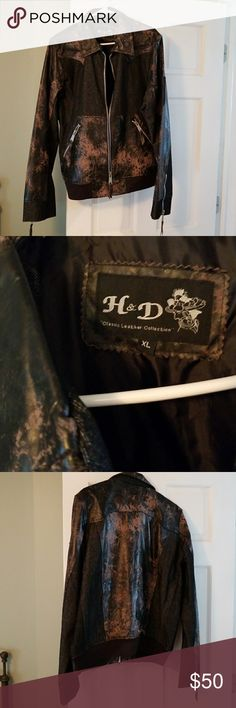 H&D CLASSIC LEATHER &DENIM JACKET XL H&D CLASSIC  LEATHER & DENIM JACKET WOMEN'S XL BROWN  AND  BLACK  LEATHER AND BLACK DENIM NEVER WORN VERY CUTE FOR FALL OR ON A MOTORCYCLE H&D classic leather collections Jackets & Coats
