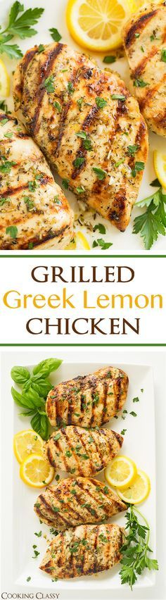 Grilled Greek Lemon Chicken - this chicken is so easy to prepare and it's deliciously flavorful! A go to dinner recipe! Marinated and grilled to perfection! dinner next week? Greek Recipes, New Recipes, Dinner Recipes, Healthy Recipes, Cake Recipes, Casserole Recipes, Paleo Dinner, Chicken Casserole, Bon Appetit