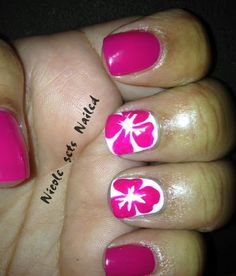 Hibiscus Flower Pink Manicure