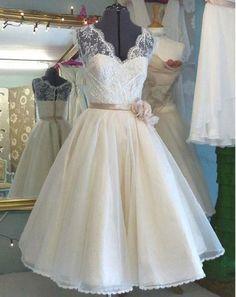 A-line V-neck Sleeveless T-length Princess Lace Bodice Organza Skirt,Short Ivory Wedding Dress