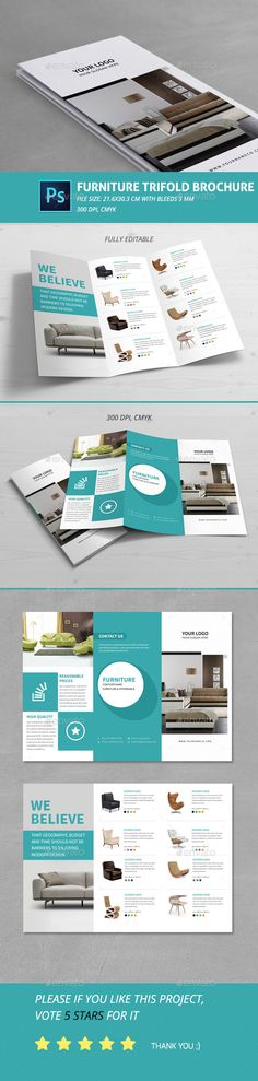 Furniture Trifold Brochure Template #design #printdesign Download: http://graphicriver.net/item/furniture-trifold-brochure/12105903?ref=ksioks
