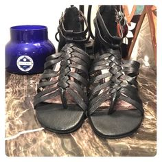 Steve Madden Sandals NEVER WORN! These are super cute Steve Madden black leather sandals with a 2 inch heel! They have a zipper in the back and also have two buckles on the sides! No trades please. Steve Madden Shoes Sandals