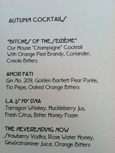 Cocktail selection at Barndiva. Healdsburg, CA. Zippertravel.com Digital Edition