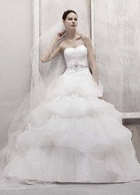 Tulle Ball Gown with Pick Up Skirt Style CWG435  Oleg Cassini