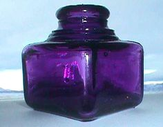 Antique old SANFORD INK well - beautiful Pristine Clean deep sun colored lavendar bottle 100 years old Antique Glass Bottles, Vintage Bottles, Bottles And Jars, Vintage Glassware, Glass Jars, Perfume Bottles, Vintage Perfume, Wells, Bottle Tattoo