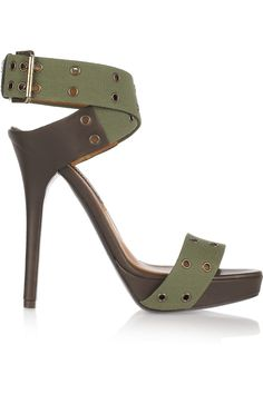 Ralph Lauren Collection Jesalin canvas sandals - love the shape, would prefer a different color Stilettos, Pumps, Zapatos Shoes, Shoes Heels, Crazy Shoes, Me Too Shoes, Look Fashion, Fashion Shoes, Mode Shoes