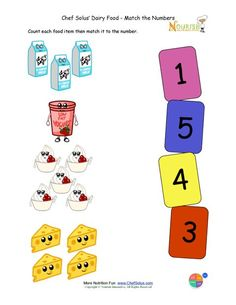 Preschool Matching Foods and Numbers Activity - The Dairy Food Group