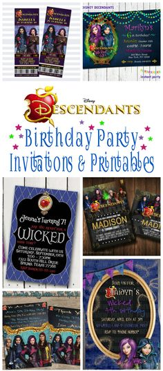 Disney Descendants Birthday Party Invitations And Other Party Printables   Includes Birthday Party Invites, Cupcake Toppers, Water Bottle Labels, Thank You Tags, Favor Boxes And More