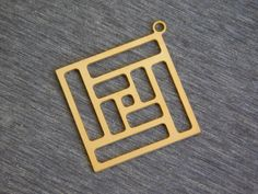 New to GoldieSupplies on Etsy: Square Maze Pendants Brass Square Charm Geometric Jewelry 2 Pc Laser Cut Charms Goldie Supplies Minimalist (3.99 USD)