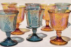 vintage gold & blue iridescent carnival glass, harvest grapes goblets wine glasses