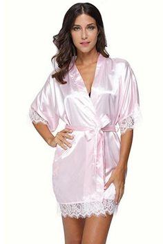 c20a4bcd5e9bb Sexy Bridesmaid Short Satin Bride Robe Lace Kimono Women Wedding Sleepwear  Summer Female Bathrobe Lingerie Clothes Home Femme L3