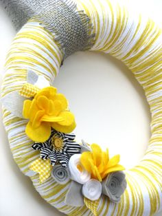 12 Yellow yarn wreath with gray white and yellow by 36thandmain