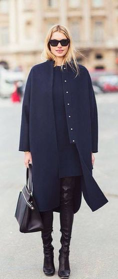 navy and black street chic look