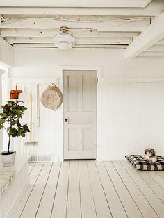 mudroom, both sides of door Painted Wooden Floors, Wooden Flooring, White Painted Floors, White Wood Floors, Plywood Floors, Plywood Furniture, Laminate Flooring, Furniture Design, Faux Brick